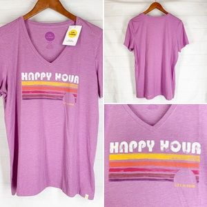 Life is Good L Cool Tee Top Happy Hour Purple NEW
